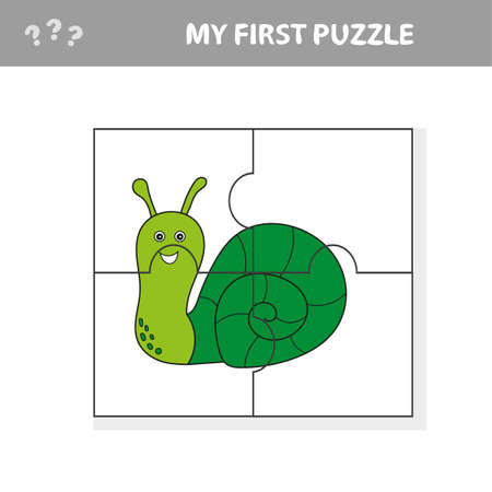 Educational puzzle game for children. Kids activity sheet with snail character, mosaic pieces 版權商用圖片 - 126425585