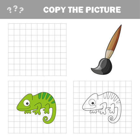 Iguana or chameleon to be colored. Coloring book for children. Visual game. Copy the picture, the simple educational game for preschool children