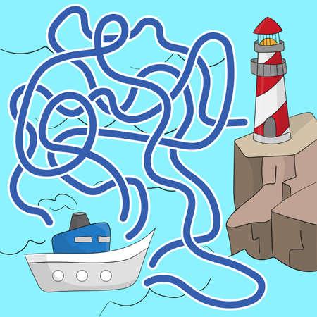 Jeu de labyrinthe pour les enfants. Aidez le bateau à atteindre le phare. Jeu pour les enfants