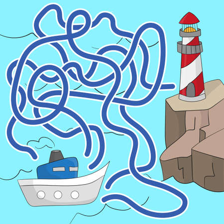Maze game for children. Help the boat get to the lighthouse. Game for kids