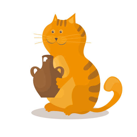 Cat eats sour cream from a ceramic bowl on a white background Illustration