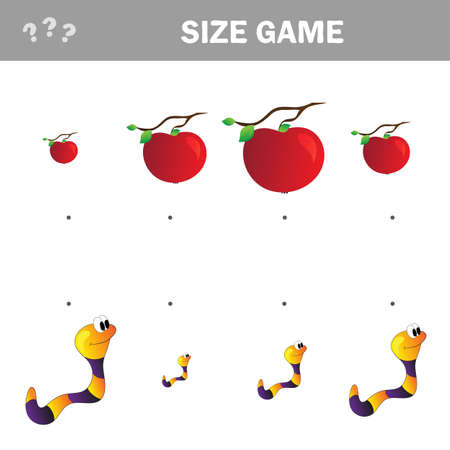 Matching children educational game. Match of cartoon worm and apple to size. Activity for pre school years kids and toddlers. 向量圖像
