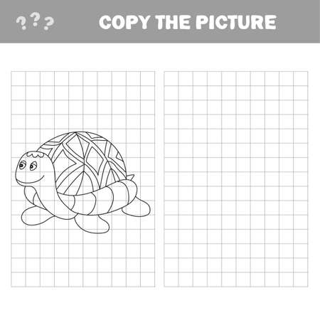 Cartoon turtle. Outlined. Vector illustration. Puzzle for Preschool Children