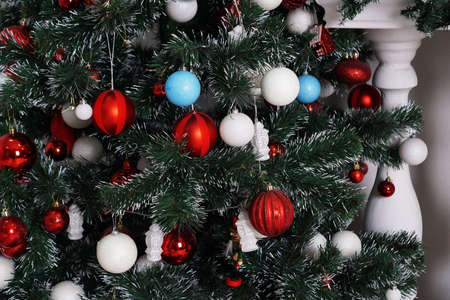 Christmas decorations, Christmas tree, gifts, new year in red white and blue color Stock Photo