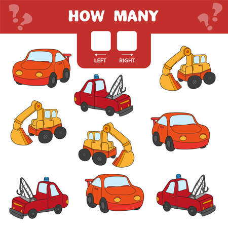 Cartoon Illustration of Educational Game of Counting Left and Right Picture for Children - cars and transport Çizim