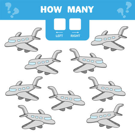 Cartoon Illustration of Educational Game of Counting Left and Right Picture for Children - plane