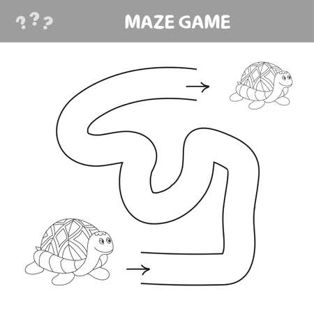 Easy maze for younger kids with a turtle - vector
