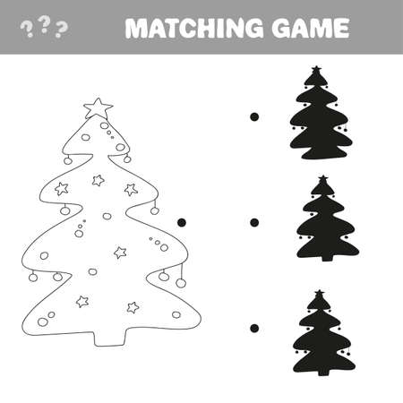 Find the correct shadow of Christmas tree. Education game for preschool kids. Vector illustration. Фото со стока - 139905537