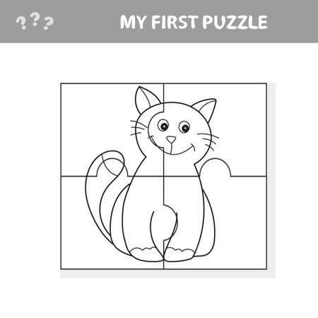 My first puzzle. Cute puzzle game. Vector illustration of puzzle game and coloring book with happy cartoon cat for children