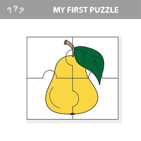 Mi primer rompecabezas: frutas, tarea de rompecabezas, juego para niños en edad preescolar. Pera