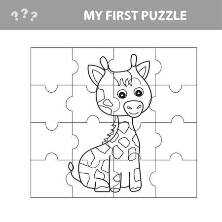 Education paper game for children, Giraffe. Create the image - my first puzzle and coloring book for kids Vettoriali