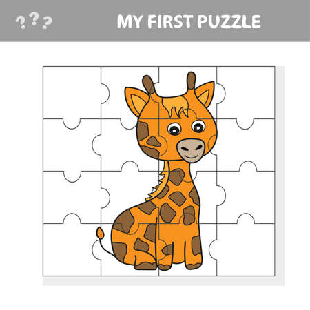 Education paper game for children, Giraffe. Create the image - my first puzzle for kids Vettoriali
