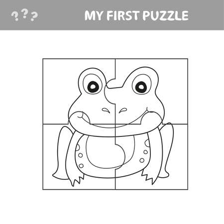Education paper game for children, Frog. Use parts to create the image. My first puzzle and coloring book Ilustração