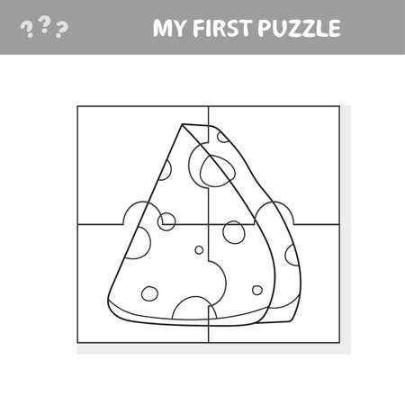 Cartoon cheese. Puzzle. Match pieces and complete the picture. Educational children game, kids sctivity page - my first puzzle and coloring book Иллюстрация