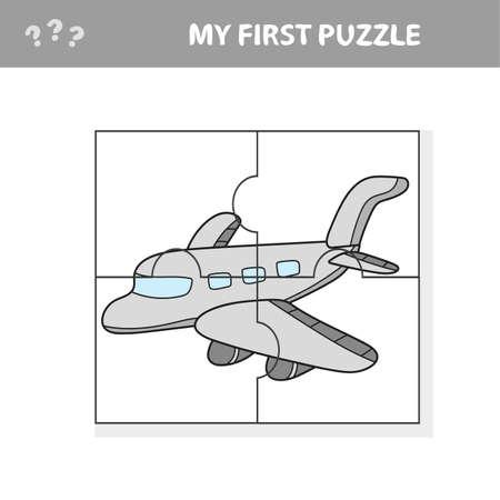 My first puzzle - a plane. Worksheet. Children art game Vettoriali