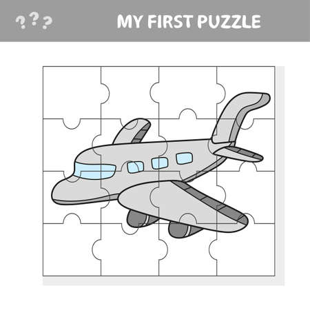 My first puzzle - a plane. Worksheet. Children art game Illustration
