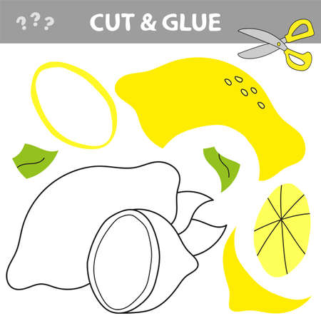 Education paper game for preshool children. Paper crafts for kids. Use scissors, cut parts of the image and glue to create the lemon