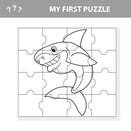 Cartoon Vector Illustration of Education Jigsaw Puzzle Game for Preschool Children with Funny Shark Fish Animal - My first puzzle and coloring book