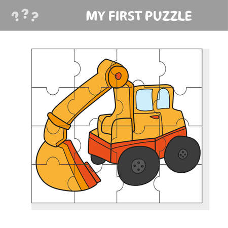 Funny cartoon excavator. Educational game for kids - My first puzzle game Иллюстрация