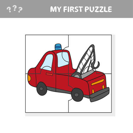 Funny cartoon truck. Educational game for kids - My first puzzle game Иллюстрация