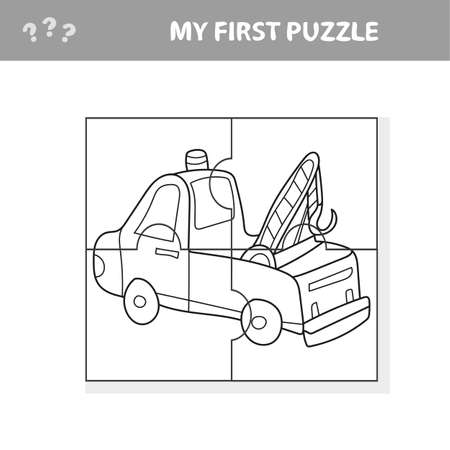 Funny cartoon truck. Educational game for kids - My first puzzle game and coloring book Иллюстрация