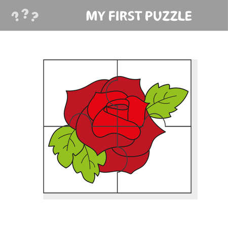 Easy educational paper game for kids. Red Rose Puzzle - My first puzzle Фото со стока - 139710360