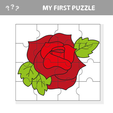 Easy educational paper game for kids. Red Rose Puzzle - My first puzzle Иллюстрация