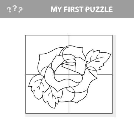 Easy educational paper game for kids. Red Rose Puzzle - My first puzzle and coloring book Фото со стока - 139710428