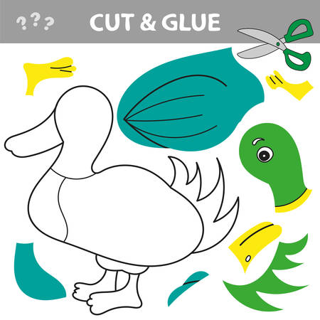 Use scissors and glue and restore the picture inside the contour. Easy educational paper game for kids. Simple kid application with Duck