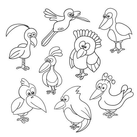 Funny Birds collection - coloring book on white Иллюстрация