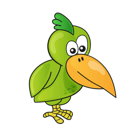 Cartoon funny cute bird on white background