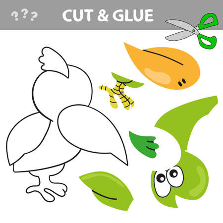 Education paper game for children. Use scissors and glue to create the image. Cut and glue game with funny bird