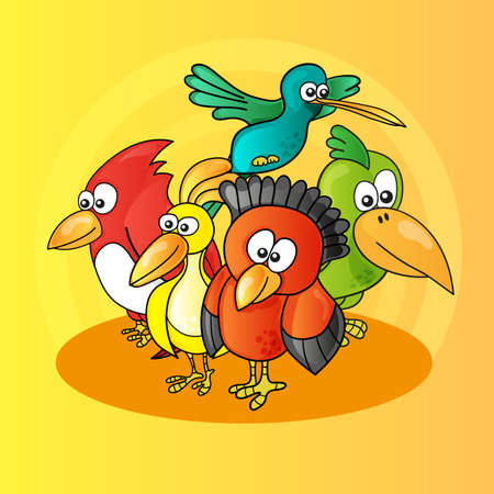 Illustration of funny cartoon characters birds on yellow background