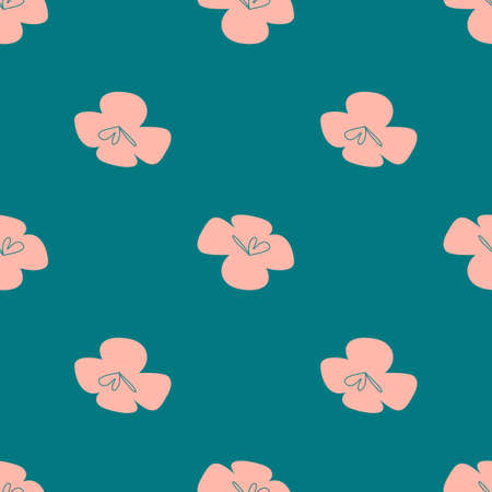 Vector tropical flowers patten. Seamless design with simple botanical elements. Aloha Hawaii vector editable file. Pastel tone colors