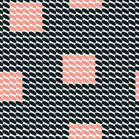 Vector seamless pattern. Abstract background with round brush strokes. Simple hand drawn texture - black white and pink 向量圖像