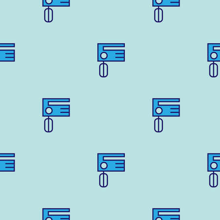 Mixer line icon. Kitchen pattern - vector seamless blue repeat for any use