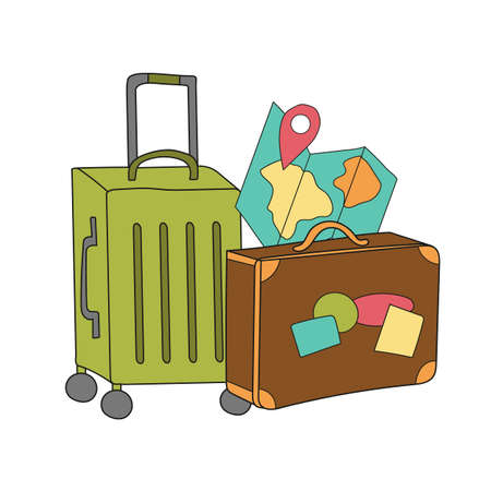 Tavel more. Creative vector illustration - Suitcase. Hand drawn concept for home poster, greeting card, apparel, flyer, cove, banner, emblem
