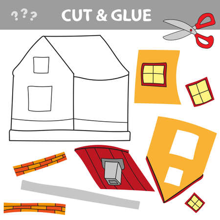 Use scissors and glue and restore the picture inside the contour. Paper game for kids. Simple kid application with Toy house. Cut ant glue. Ilustración de vector
