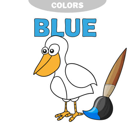 Coloring book - finny bird. Learn colors - blue Stock Illustratie