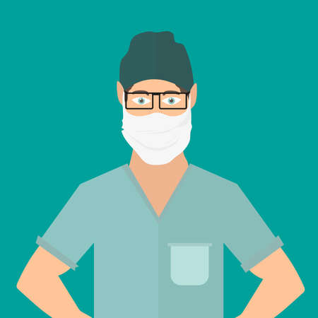 Young white male doctor. A guy in a medical mask. A doctor treats people for coronavirus. Vector illustration on green background