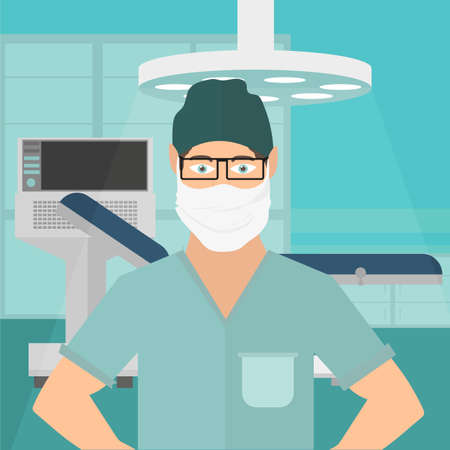 Doctor in hospital ward. Masked doctor - vector file illustration