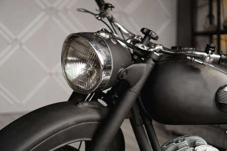 Motorcycle close-up in the room. Photo from the studio