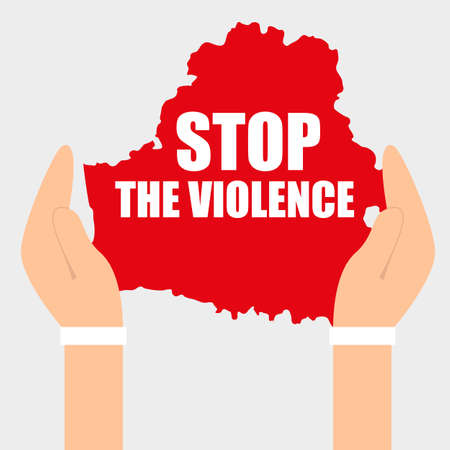 Stop Violence. Protests in Belarus after election results 2020. Vector template isolated for banner, social media
