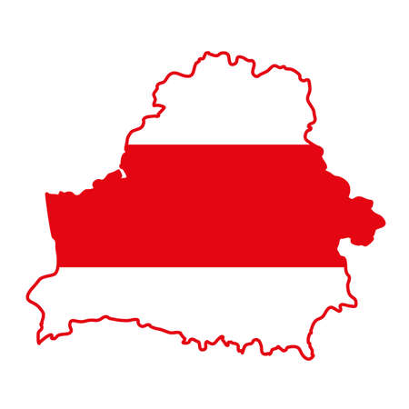 Vector map of Belarus. Silhouette. Red and white protesters flag. Protests in Belarus after election results 2020 Illustration