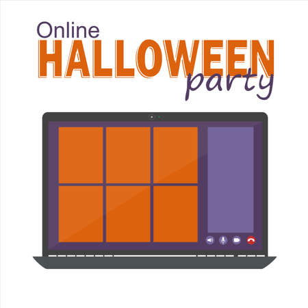 Online Halloween party concept, computer screen have video conference to celebrate, video call template, flat vector illustration 일러스트
