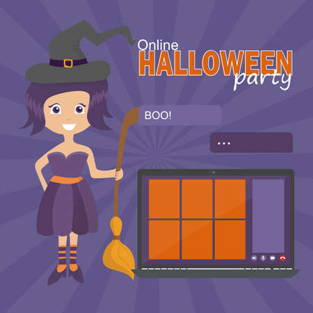 Online Halloween party concept, computer screen have video conference to celebrate, video call with funny witch, flat vector illustration