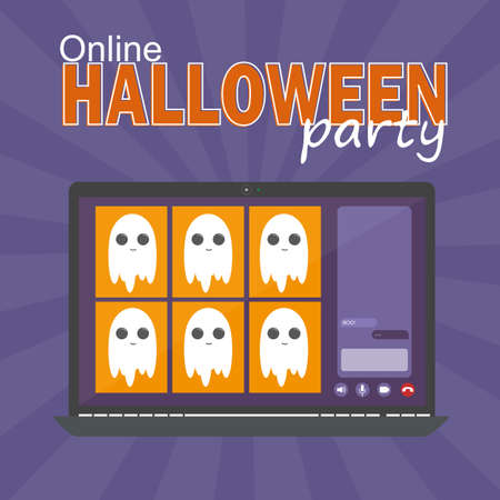 Online Halloween party concept, computer screen have video conference to celebrate, video call with funny ghosts, flat vector illustration 일러스트