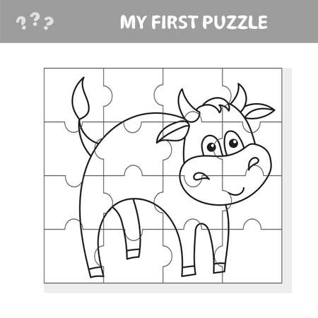 Cartoon Vector Illustration - Puzzle Activity Game for Children with Bull Farm Animal Character. Coloring book