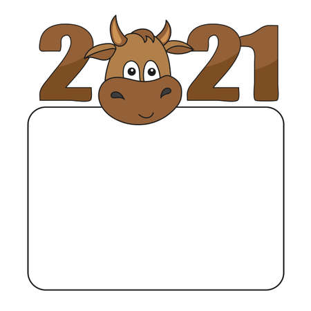 Cartoon 2021 bull with a white sheet for advertising. Simple vector illustration. White blank, board with empty place for your text. Cute animal