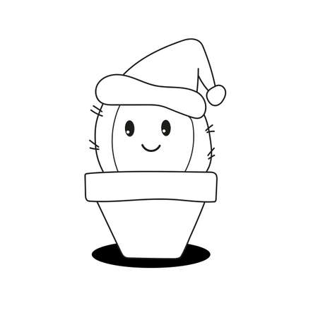 Children educational game. Coloring page with cute cactus. Printable activity